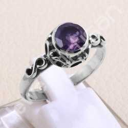 Amethyst Ring 925 Sterling Silver Ring Handcrafted Silver Ring Natural Purple Amethyst Solitaire 7x7mm Round Gemstone Ring