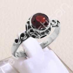 Garnet Gemstone Ring 925 Sterling Silver Ring Handmade Silver Ring Designer 7x7mm Classic Solitaire Natural Gemstone Ring