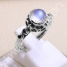 Handcrafted Silver Ring Rainbow Moonstone Ring 925 Sterling Silver Ring 7x7mm Round Rainbow Moonstone Solitaire Silver Ring