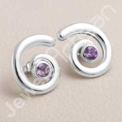 Natural Amethyst Gemstone Studs 925 Sterling Silver Studs Handcrafted Studs 5x5mm Round Gemstone Solitaire Fashionable Studs