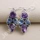 Amethyst Earring Blue Topaz Earring 925 Sterling Silver Earring 7x9mm Pear Amethyst Handcrafted Dangle Drop Ear Wired Earring