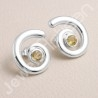 Citrine Gemstone Studs 925 Sterling Silver Studs Handcrafted Studs 5x5mm Round Gemstone Solitaire Fashionable Silver Studs