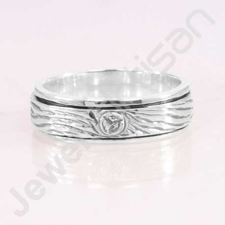 Spinner Ring 925 Sterling Silver Ring Handcrafted Silver Ring Meditation Ring Anxiety Ring Stem Bark Ring Thumb Ring Band