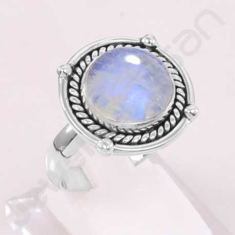 Rainbow Moonstone Ring 925 Sterling Silver Ring Handcrafted Silver Ring Round 12x12mm Gemstone Statement Silver Designer Ring