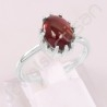 Handcrafted Silver Ring Hessonite Garnet Ring 925 Sterling Silver Ring 8x10mm Oval Hessonite Garnet Silver Solitaire Ring