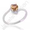 Citrine Gemstone Ring 925 Sterling Silver Ring Solitaire Gemstone Ring 6x6mm Round Citrine Handmade Silver Ring