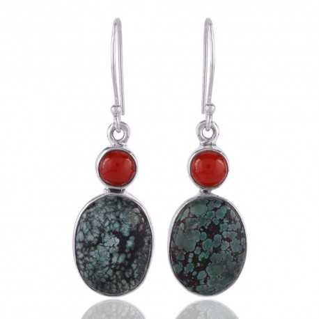 Turquoise and Coral Gemstone Silver Earring Two Stone Earrings