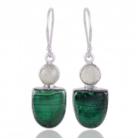 Malachite and Prehnite Silver Earring Green Gemstone Earrings