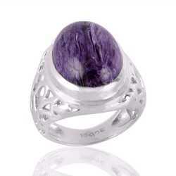 Charoite Purple Gemstone Mens Ring Steling Silver Mens Womens Ring