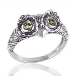 Owl Skull Ring with Peridot Eyes Sterling Silver Mans Womans Ring