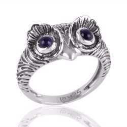 Solid Sterling Silver Skull Ring for Men with Amethyst Eyes