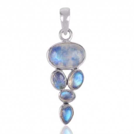 Rainbow Moonstone and Sterling Silver Trendy Online Pendant Necklace
