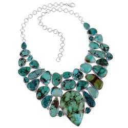 Sterling Silver and Turquoise Bib Necklace Natural Gemstone Jewelry Necklace
