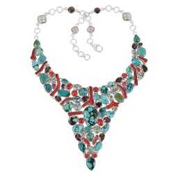 Turquoise Coral Smoky and Green Amethyst Solid 925 Silver Bib Necklace