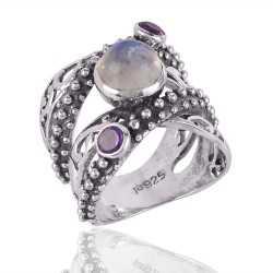Rainbow Moonstone and Amethyst Sterling Silver Designer Ring