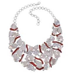 Bamboo Corol and Natural Baroque Pearl Solid Silver Bib Necklace Unique Party Wear Necklace