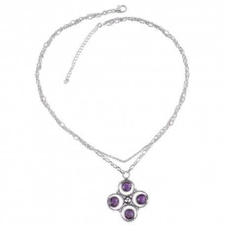 Amethyst and Sterling Silver Designer Necklace