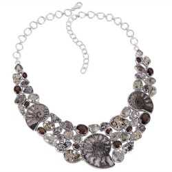 Russian Ammonite Pyrite Green Amethyst Smokey and Meteorite Silver Necklace
