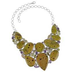 Stichtite in Serpentine and Amethyst Peridot Lemon Silver Choker Large Necklace