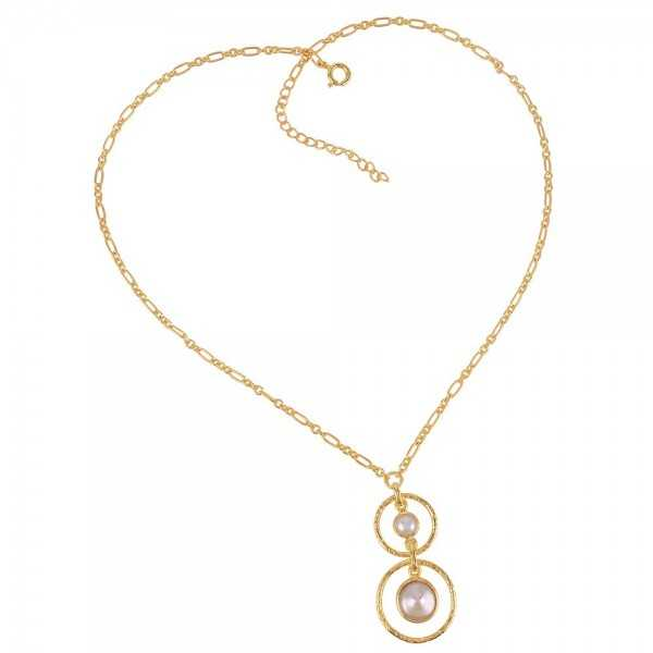 Gold Plated Bewa Pearl and South Sea Pearl Sterling Silver Dangle Necklace