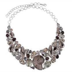Russian Ammonite Pyritesun Meteorite Green Amethyst and Smoky Quartz Silver Necklace