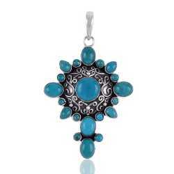 Arizona Turquoise and Oxidized Silver Cross Pendant Locket