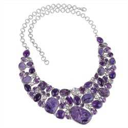 Buy Natural Gemstone Charoite, Amethyst, Crystal, Pearl Unique Combination Sterling Silver Adjustable Necklace