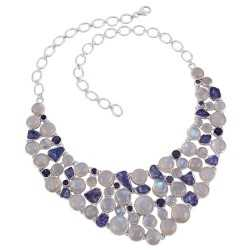 Raw Tanzanite and Iolite with Rainbow Moonstone Sterling Silver Necklace