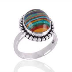 Rainbow Calcilica and 925 Solid Silver Designer Ring