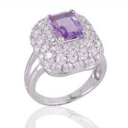Amethyst and Cubic Zircon CZ Silver Jewelry Engagement Ring
