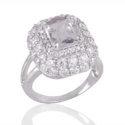 Crystal Quartz and Cubic Zircon CZ Sterling Silver Engagement Ring