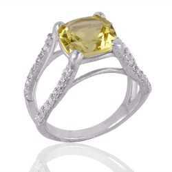 Lemon Quartz and CZ Silver Engagement Ring