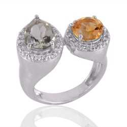Citrine and Green Amethyst Silver CZ Cocktail Ring