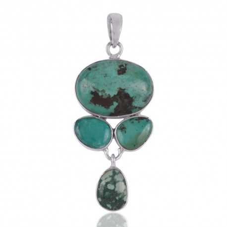 Turquoise and 925 Silver Artisan Pendant Jewelry Necklace