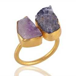 Rough Tanzanite and Rough Amethyst Fashion Ring Yellow Gold Plated