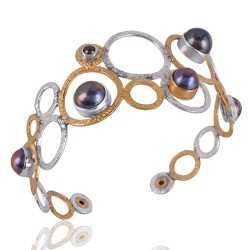 Silver and Brass Mix Two Metal Two Tone Pearl Cuff Bracelet