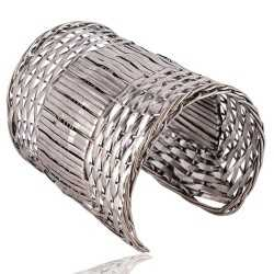 Sterling Silver Beautiful Handmade Basket Cuff Bracelet Unique Jewelry Piece