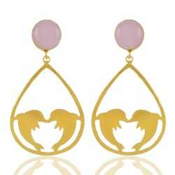 18K Gold Plated Rose Quartz Gemstone Dolphone Earring Fashion Jewellery