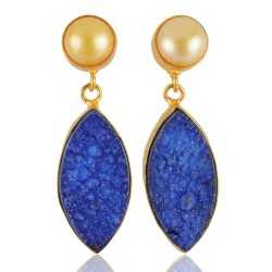Blue Druzy Fashion Stud Earring Gold Plated