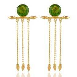 Green Hydro Long Dangle Earring Gold Plated Fashion Jewellery