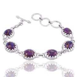 Purple Copper Turquoise Kingman Turquoise Silver Claw Setting Bracelet
