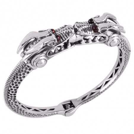 Sterling Silver Crocodile Figure Bangle Bracelet with Garnet Eyes