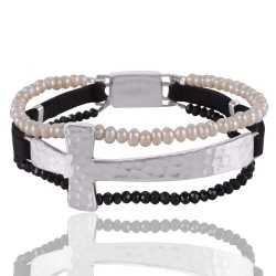 Beautiful 925 Silver Cross Bracelet with Pearl and Black Onyx