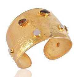 18K Gold Plated Ammolite and Mabe Pearl Silver Hammered Cuff Bracelet