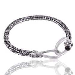 Solid Sterling Silver Snake Chain Bracelet with Amethyst