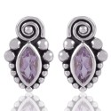 Amethyst and 925 Silver Small Stud for Girls Earring