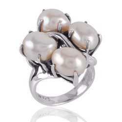 White Pearl and Solid Silver Prong Ring Unique Designer Ring
