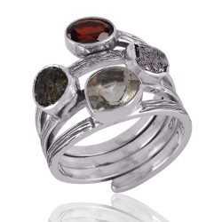 Moldavite Meteorite Garnet And Green Amethyst Gemstone 925 Sterling Silver Ring