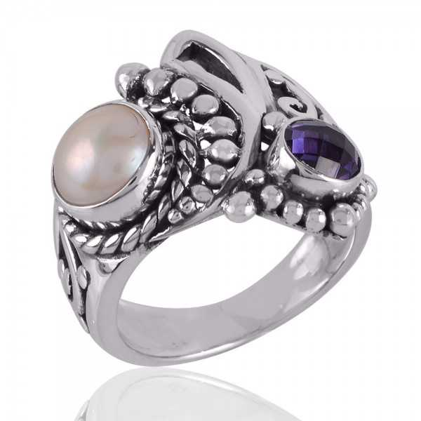 Amethyst and Pearl Beautiful Silver Ring for Girls