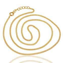 Gold Plated Link Chain Necklace 16 Inch Long with 2 Inch Extra Extension